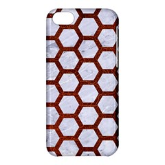 Hexagon2 White Marble & Reddish Brown Leather (r) Apple Iphone 5c Hardshell Case by trendistuff