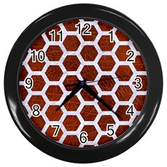 Hexagon2 White Marble & Reddish Brown Leather Wall Clocks (black) by trendistuff