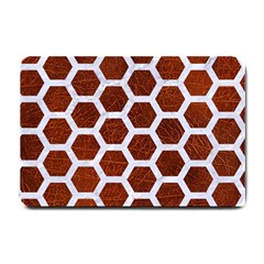 Hexagon2 White Marble & Reddish Brown Leather Small Doormat  by trendistuff