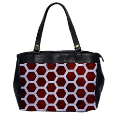 Hexagon2 White Marble & Reddish Brown Leather Office Handbags by trendistuff
