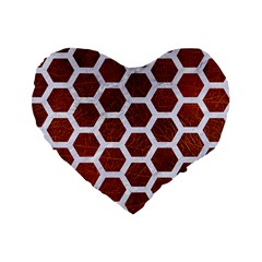 Hexagon2 White Marble & Reddish Brown Leather Standard 16  Premium Heart Shape Cushions by trendistuff