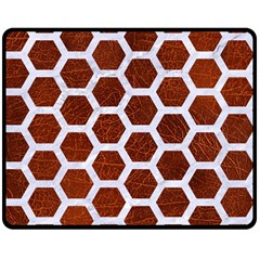 Hexagon2 White Marble & Reddish Brown Leather Double Sided Fleece Blanket (medium)  by trendistuff