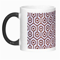 Hexagon1 White Marble & Reddish Brown Leather (r) Morph Mugs by trendistuff