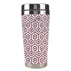 Hexagon1 White Marble & Reddish Brown Leather (r) Stainless Steel Travel Tumblers by trendistuff