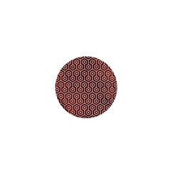 Hexagon1 White Marble & Reddish Brown Leather 1  Mini Magnets by trendistuff