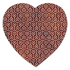 Hexagon1 White Marble & Reddish Brown Leather Jigsaw Puzzle (heart) by trendistuff