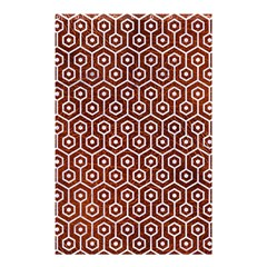 Hexagon1 White Marble & Reddish Brown Leather Shower Curtain 48  X 72  (small)  by trendistuff