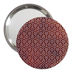 Hexagon1 White Marble & Reddish Brown Leather 3  Handbag Mirrors by trendistuff