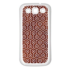 Hexagon1 White Marble & Reddish Brown Leather Samsung Galaxy S3 Back Case (white) by trendistuff