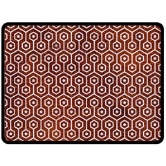 Hexagon1 White Marble & Reddish Brown Leather Double Sided Fleece Blanket (large)  by trendistuff