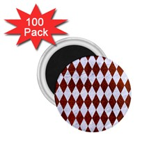 Diamond1 White Marble & Reddish Brown Leather 1 75  Magnets (100 Pack)  by trendistuff