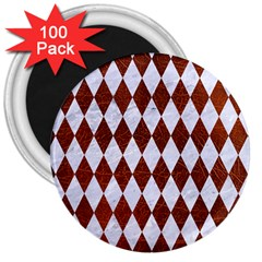 Diamond1 White Marble & Reddish Brown Leather 3  Magnets (100 Pack) by trendistuff