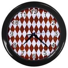 Diamond1 White Marble & Reddish Brown Leather Wall Clocks (black) by trendistuff