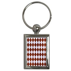 Diamond1 White Marble & Reddish Brown Leather Key Chains (rectangle)  by trendistuff