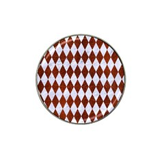 Diamond1 White Marble & Reddish Brown Leather Hat Clip Ball Marker (10 Pack) by trendistuff