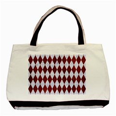 Diamond1 White Marble & Reddish Brown Leather Basic Tote Bag by trendistuff