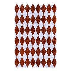 Diamond1 White Marble & Reddish Brown Leather Shower Curtain 48  X 72  (small)  by trendistuff