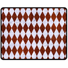 Diamond1 White Marble & Reddish Brown Leather Double Sided Fleece Blanket (medium)  by trendistuff