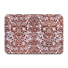 Damask2 White Marble & Reddish Brown Leather (r) Plate Mats by trendistuff