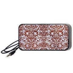 Damask2 White Marble & Reddish Brown Leather (r) Portable Speaker by trendistuff
