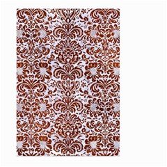 Damask2 White Marble & Reddish Brown Leather (r) Large Garden Flag (two Sides) by trendistuff