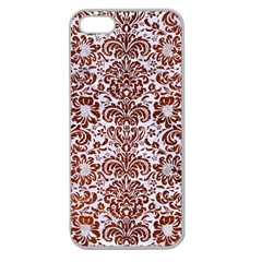 Damask2 White Marble & Reddish Brown Leather (r) Apple Seamless Iphone 5 Case (clear) by trendistuff