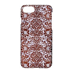 Damask2 White Marble & Reddish Brown Leather (r) Apple Iphone 8 Hardshell Case by trendistuff