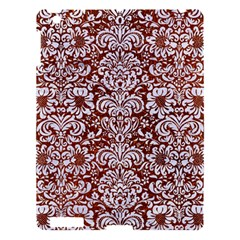 Damask2 White Marble & Reddish Brown Leather Apple Ipad 3/4 Hardshell Case by trendistuff