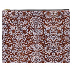 Damask2 White Marble & Reddish Brown Leather Cosmetic Bag (xxxl)  by trendistuff