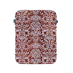 Damask2 White Marble & Reddish Brown Leather Apple Ipad 2/3/4 Protective Soft Cases