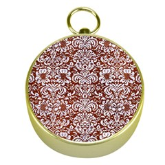 Damask2 White Marble & Reddish Brown Leather Gold Compasses by trendistuff