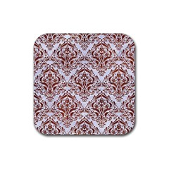 Damask1 White Marble & Reddish Brown Leather (r) Rubber Square Coaster (4 Pack)  by trendistuff