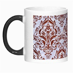 Damask1 White Marble & Reddish Brown Leather (r) Morph Mugs by trendistuff