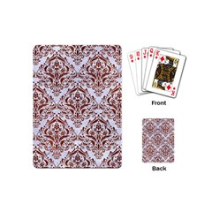 Damask1 White Marble & Reddish Brown Leather (r) Playing Cards (mini)