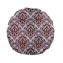 Damask1 White Marble & Reddish Brown Leather (r) Standard 15  Premium Flano Round Cushions by trendistuff