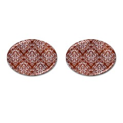Damask1 White Marble & Reddish Brown Leather Cufflinks (oval)