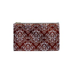 Damask1 White Marble & Reddish Brown Leather Cosmetic Bag (small)  by trendistuff