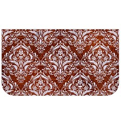 Damask1 White Marble & Reddish Brown Leather Lunch Bag