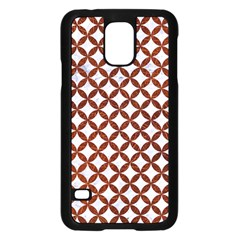 Circles3 White Marble & Reddish Brown Leather (r) Samsung Galaxy S5 Case (black) by trendistuff