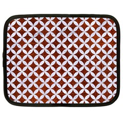 Circles3 White Marble & Reddish Brown Leather Netbook Case (xl)  by trendistuff