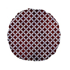 Circles3 White Marble & Reddish Brown Leather Standard 15  Premium Flano Round Cushions by trendistuff