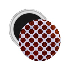 Circles2 White Marble & Reddish Brown Leather (r) 2 25  Magnets by trendistuff
