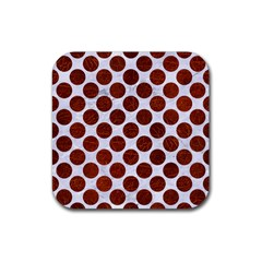 Circles2 White Marble & Reddish Brown Leather (r) Rubber Square Coaster (4 Pack)  by trendistuff