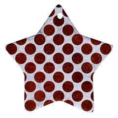 Circles2 White Marble & Reddish Brown Leather (r) Star Ornament (two Sides) by trendistuff