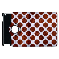 Circles2 White Marble & Reddish Brown Leather (r) Apple Ipad 2 Flip 360 Case by trendistuff