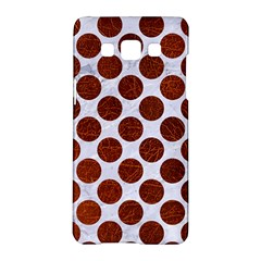 Circles2 White Marble & Reddish Brown Leather (r) Samsung Galaxy A5 Hardshell Case  by trendistuff