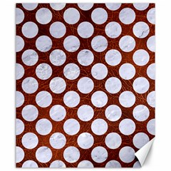 Circles2 White Marble & Reddish Brown Leatherer Canvas 20  X 24   by trendistuff