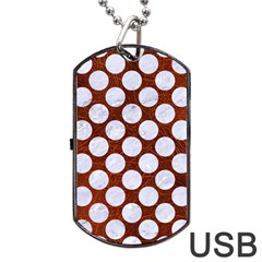 Circles2 White Marble & Reddish Brown Leatherer Dog Tag Usb Flash (two Sides) by trendistuff