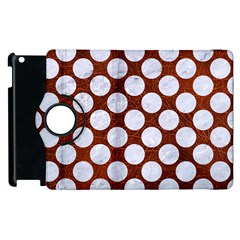 Circles2 White Marble & Reddish Brown Leatherer Apple Ipad 3/4 Flip 360 Case by trendistuff