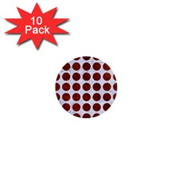 Circles1 White Marble & Reddish Brown Leather (r) 1  Mini Buttons (10 Pack)  by trendistuff